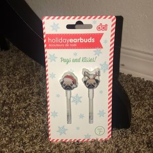 Pug holiday earbuds